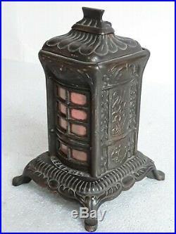 Vtg 1890s cast iron still bank Wood Stove Schneider & Trenkamp Cleveland Chicago