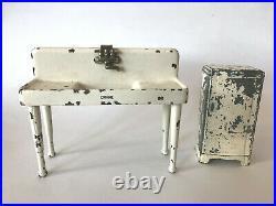 Vtg Arcade Cast Iron Doll Dollhouse Furniture Metal Kitchen Sink Frigidaire Bank