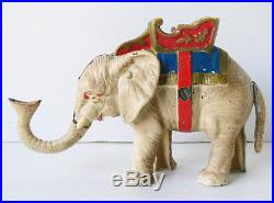 Vtg/ antique HUBLEY ELEPHANT with Howdah COIN BANK cast iron 1930s toy XLNT nr