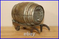 WHITE CITY PUZZLE SAVINGS BANK Barrel #1 on Cart cast iron bank circa 1894