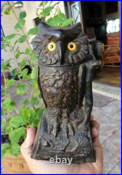 WORKING ORIGINAL CAST IRON J&E Stevens Turn-Head Owl MECHANICAL BANK 1880