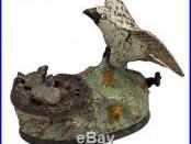 Wonderful 19thC Eagle & Eaglets Cast Iron Mechanical Bank