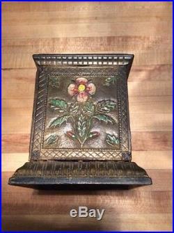 Wonderful old original cast iron Floral Safe still penny bank c. 1898